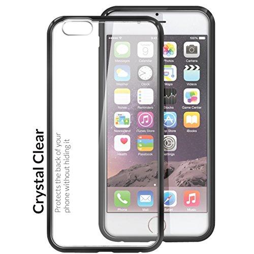 Orzly® FUSION Bumper Case für Apple iPhone 6 & 6S (4.7-Zoll Modell 2014 & 2015 Version) - Schutz Hard Cover mit stoßabsorbierenden Gummi SCHWARZ Rim und Voll Transparente Rückseite SCHWARZ Fusion für iPhone 6 PLUS & 6S PLUS