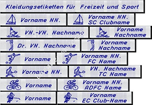 Kleidungssetiketten Etiketten für Freizeit und Sport, 10mm hoch in Blau mit Ihrem Namen und Motiv nach Wahl gewebt zum Einnähen 50 Stück