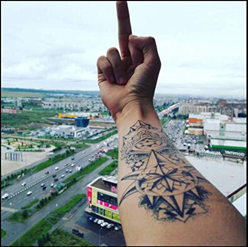ruofengpuzi Tattoo-Aufkleber Für Männer Und Frauen Wasserdicht Langlebige Blume Arm Pointer Schwarzweiß Arm Tattoo-Aufkleber Brustsimulation Tattoo Grüner Schweiß