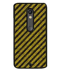 FUSON Designer Back Case Cover for Motorola Moto X Play (Yellow Pattern Net Pattern Crazy Artistic Line pattern)