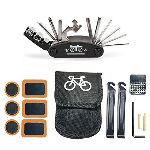Fahrrad-Multitool, WOTOW 16 in 1 Multifunktionswerkzeug Fahrradwerkzeug Mechaniker Reparatur Tool Kit Fahrrad Reparatur Set Multifunktions Werkzeug mit Reparaturset Flicken und Tasche (es gibt keinen Kleber) (Kleber Taschen)