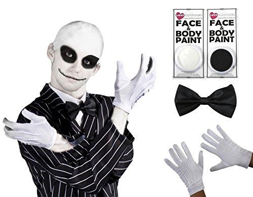 ILOVEFANCYDRESS Weihnachten Nightmare Herr Jack Halloween Fancy Dress Kostüm Kit Fliege, weiße Handschuhe, facepaints und baldcap-in 5Größen TV & Film Skelett Kostüm