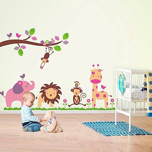 Huge elephant ws9039 walplus - adesivi da parete, motivo elefante/scimmia/alberi