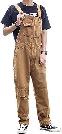Fansu Men Denim Overalls Trousers Dungarees Vintage Work Bib Jeans Jumpsuits with Knee Pads Pockets Coveralls Pants Big Waist Plus Size