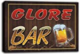 scw3-021257 GLORE Name Home Bar Pub Beer Mugs Stretched Canvas Print Sign