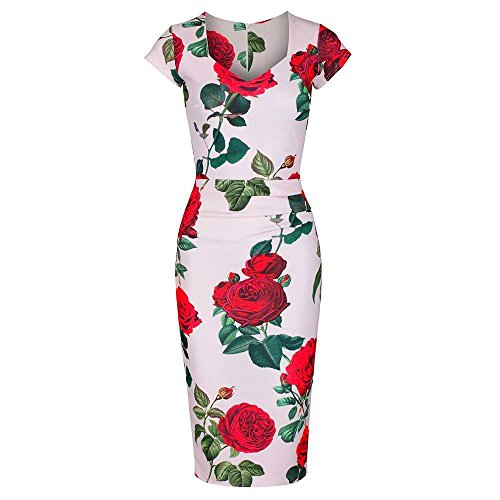 ceec774d6896 Pretty Kitty Fashion 1940s Cap Sleeve Pink Red Rose Pin up Wiggle Bodycon  Dress
