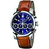 Orologio Eberhard acciaio pelle Quadrante Blu, Crono, 4Sfere