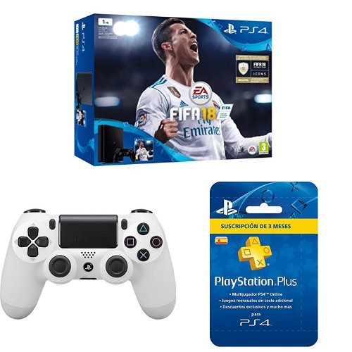 PlayStation 4 (PS4) - Consola de 1 TB + FIFA 18 + Sony - Dualshock 4 V2 Mando Inalámbrico, Color Glacier White (PS4) + Sony - PSN Plus Tarjeta 90 Días - Reedición (PlayStation 4)