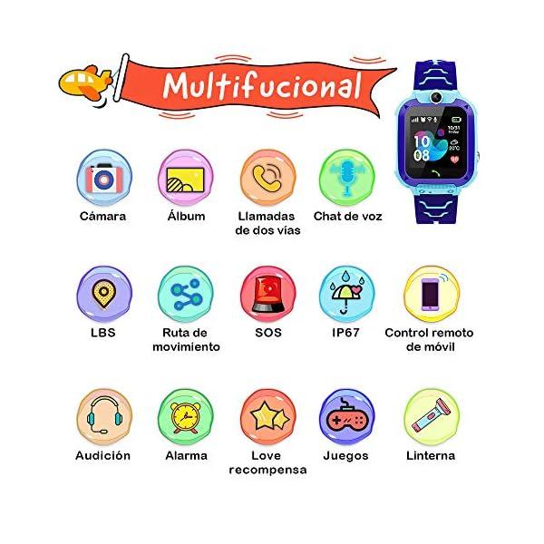 NAIXUES Smartwatch Niños, Reloj Inteligente Niño IP67, LBS, Hacer Llamada, Chat de Voz, SOS, Modo de Clase, Cámara… 2