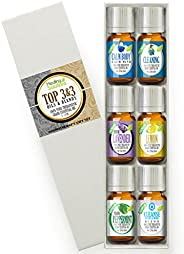 Top 3 Blends & Top 3 Pure Oils Set 100% Pure, Best Therapeutic Grade Essential Oil Kit - 6/10mL (Calm Body