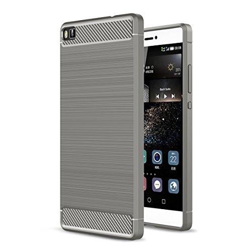 Huawei P8 Cover Ultra Slim, Casefashion Sottile Custodia Protettiva [Carbon Fiber Textured Pattern] TPU Back (Shell Accenti)
