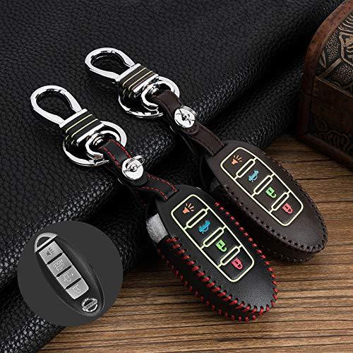 SUNQQB Für autoschlüssel Abdeckung fob Shell leuchtende 4 Tasten smart Key case für Nissan Alten geniss/teana/Sunny/Qashqai/Murano/gt-r/livina,Luminous,Black