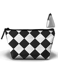 Negro y Blanco Cuadrado de cuadros patrón trapezoidal portátil bolsa resistente al agua bolsa de almacenamiento