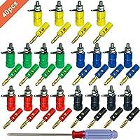 FULARR® 40Pcs Premium 4mm Banana Conector Plug Socket Kit: 20Pcs Chapado Oro Banana Enchufe + 20Pcs Binding Post Terminal, para Altavoz, Audio/Video Receptor (5 Color)