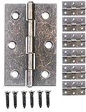 fuxxer-6X CERNIERE | Bronzo antico ferro design | per schaenke armadio con ante truhen scatole contenitori in stile vintage rustico retrò | 62X 40mm, confezione da pezzi, viti incluse