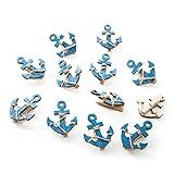 12 Stück kleine blau weiße Schiffs-ANKER Deko-KLAMMERN 5,5 x 4,5 cm … Zier-Klammern Holz-Klammern Mini-Klammern Mini-Wäscheklammern als maritime Dekoration zur Hochzeit, Kinder-Geburtstag, …