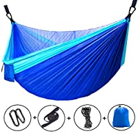 Yuede Single Double Camping Hammock with Mosquito Bug Net, 10ft Hammock Tree Straps Carabiners Easy Assembly Portable Parachute Nylon Hammock for Camping Backpacking Survival Travel More