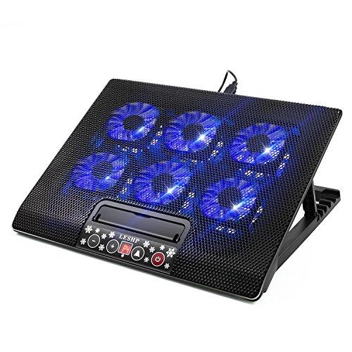 LESHP 15.6 Zoll Laptop Kühler 6 Lüfter Notebook Kühler mit USB-Port Notebook Cooler Ständer Kühlpad Kühlmatte Cooling Pad