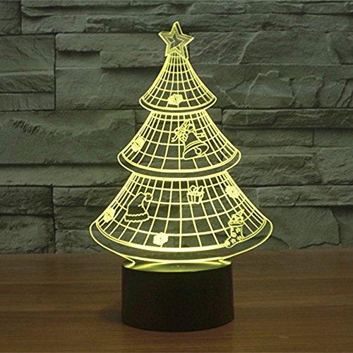 Lampe 3D ILLUSION Lichter der Nacht, kingcoo 7Farben LED Acryl Licht 3D Creative Berührungsschalter Stereo Visual Atmosphäre Schreibtischlampe Tisch-, Geschenk für Weihnachten, Kunststoff, Arbre de Noël 0.50 wattsW - 5