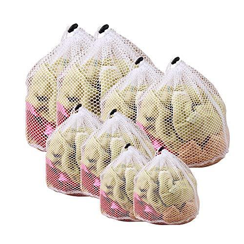 NANANA Mesh Wäschesäcke, Weiße Kleidung Kordelzug Wäsche Mesh Netzbeutel Grobe Mesh für Waschmaschine (2-s, 2-m, 2-l, 2-XL)