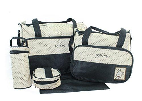 Tofern ® 5 Baby-Wickeltasche, Set, Wickeltasche schwarz schwarz