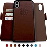 dreem Fibonacci 2-in-1 Vegan iPhone Xs Max Leather Wallet Case   Magnetic iPhone Case Detachable Shock-Proof TPU Slim   Wireless Charging, RFID Protection   2-Way Stand   Gift-Box - Coffee