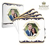 Royal Heritage H.R.H Harry and Megan Markle - Posavasos conmemorativos para boda (10,5 x 10,5 x 2 cm), multicolor