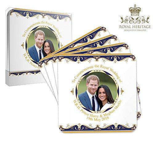 Royal Heritage s.k.h Harry und Megan markle Hochzeit GEDENKMÜNZE Untersetzer, Kork, mehrfarbig, 10,5x 10,5x 2cm (Kaffee-prinz-becher)