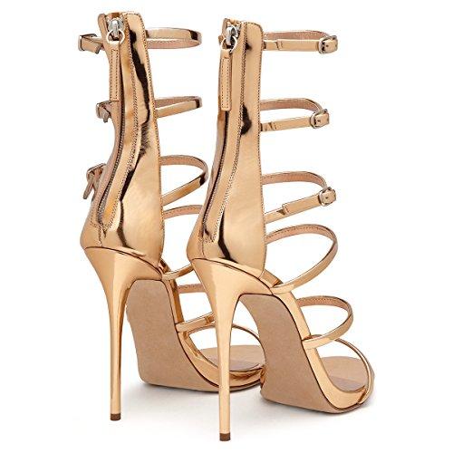 SONGYUNYANRobe de dames ?la main de romain boucle or cuir verni talons sandales Gold