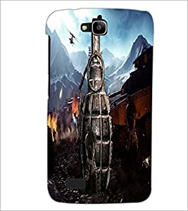 PrintDhaba Hand Granade D-4887 Back Case Cover for HUAWEI HONOR HOLLY (Multi-Coloured)