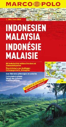 Indonésie, Malaisie - Carte routière et touristique par Marco Polo