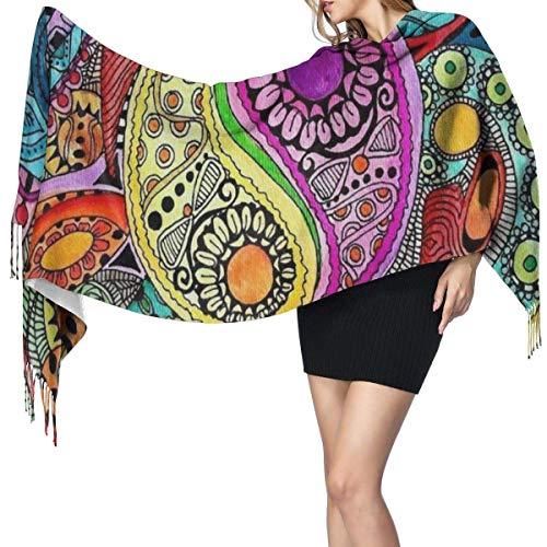 KsimYa Bufanda grande para mujer Womens Large Scarf Hippie Mandala YinYang Soft Cashmere Feel Pashmina Shawls Wraps