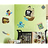 Tesoro Del Pirata barco Parrot mar monster-girl o Boy 's habitación infantil del bebé Nursery playroom- arte vinilo adhesivo de Gráfico Mural Ative Decoración del dormitorio