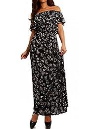 Damen Maxikleid Hippie Bohemian Bodenlanges Kleid Strandkleid Carmen Ausschnitt mit Volant