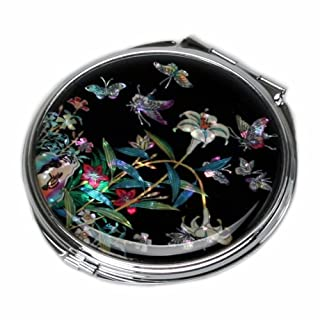 Mother of Pearl Lily Compact Makeup Pocket Round Purse Cosmetic Mirror in Black