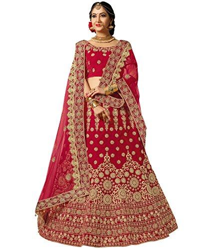 Indian Ethnicwear Bollywood Pakistani Wedding Maroon A-line Lehenga Semi-stitched-PRFM7402