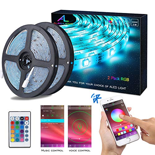 Striscia LED RGB 10M Musica, ALED LIGHT LED Strip Bluetooth RGB Striscia, IP65 Impermeabile 12V Striscia, Bluetooth + 24 Tasti Telecomando, Nastri Led Smartphone Android e IOS Controllato da APP