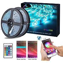 Tiras de LED Bluetooth, ALED LIGHT 5050 RGB 2x5 metros Luces de Tira LED 300 Banda de Luz Impermeable de Controlada por Control Remoto 44K o Teléfono Inteligente para El hogar, Exteriores y Decoración