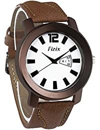 Dk Day & Date Series White Dial Brown Leather Strap Analogue Wrist Watch For Mens & Boys (fzx-01282)