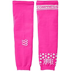 Compressport Arm Force - Calentadores de brazos de running para hombre, color rosa fluorescente, talla FR : M (Taille Fabricant : T2)