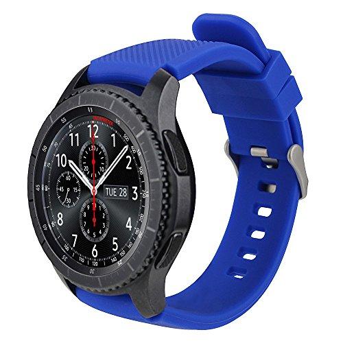 iBazal 22mm Correa Silicona Pulseras Bandas Compatible con Samsung Galaxy Watch 46mm,Gear S3 Frontier Classic,Huawei GT/2 Classic/Honor Magic,Ticwatch Pro Hombre Mujer (Reloj No Incluido) - Azul Real