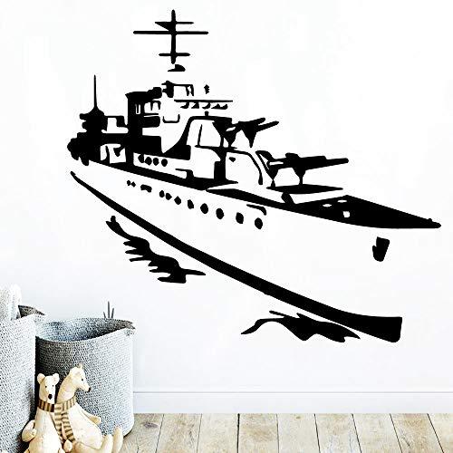 Schiff Vinyl Aufkleber Wandaufkleber Kinder Wohnzimmer Dekoration wasserdichte Wand Kunst Aufkleber h2 57x64cm