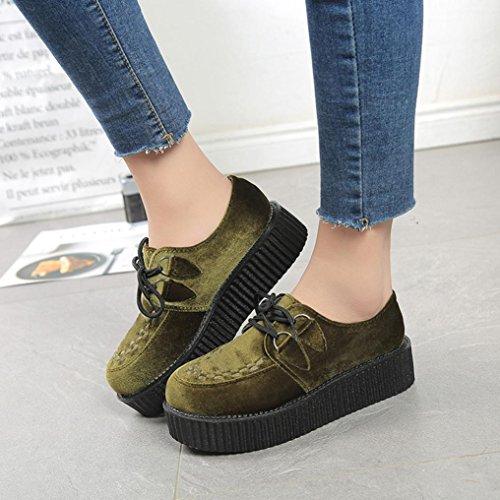 Longra I pattini casuali della scarpa della piattaforma rotonda del piede dei pattini della parte anteriore di colore solido di modo delle donne calza i pattini casuali Army Green