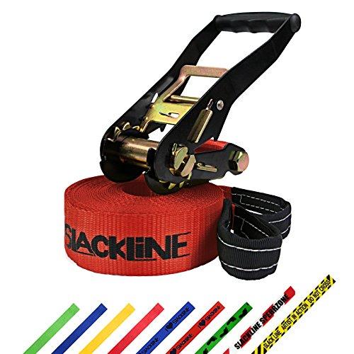 Slackline 15 m Freedom por BB Sport (2 t), Color:I Love Slackline. rojo
