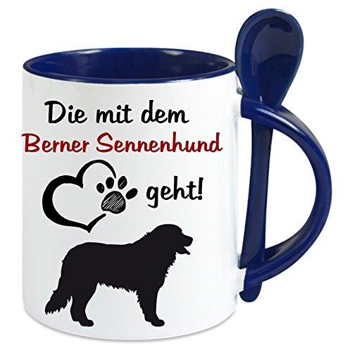 Creativ Deluxe Kaffeetasse m. Löffel - Die mit Dem Berner Sennenhund Geht - Kaffeetasse mit Motiv, Bedruckte Tasse mit Sprüchen o. Bildern - Auch indiv. Gestaltung Nach Kundenwunsch (Blau)
