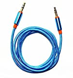 #10: FARRAIGE 3.5MM Gold Plated Nylon Braided Aux Audio Cable For Car Stereo Mobile Phones Speakers (Blue)