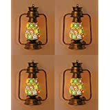 Somil Antique Wall Mount Lantern Lamp With Glass Hand Decorated With Colorful Articles For Special Lighting Effects(Set Of 4)_VC25