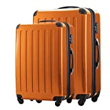 HAUPTSTADTKOFFER® · Set of 2 (87Liter/130Liter) suitcase 87 liter (63 x 42 x 28 cm) + suitcase 130 liter (75 x 52 x 32 cm) hardshell case · high gloss color · TSA combination lock (Orange)