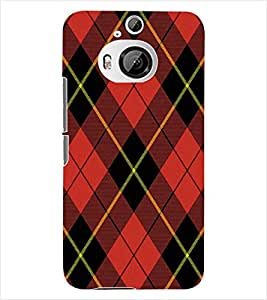 ColourCraft Red Check Pattern Back Case Cover for HTC ONE M9 PLUS
