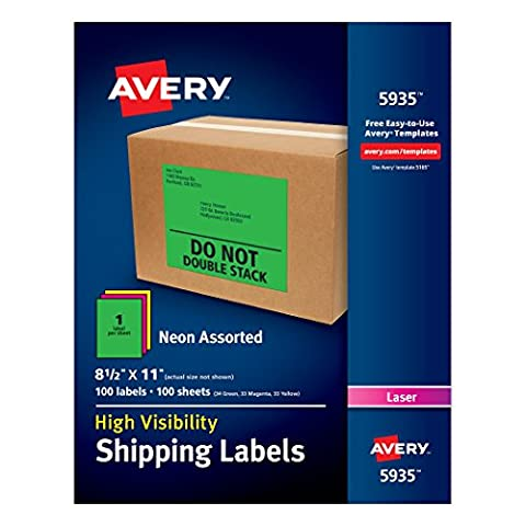 Avery Neon Laser Labels 100 labels Neon Assorted